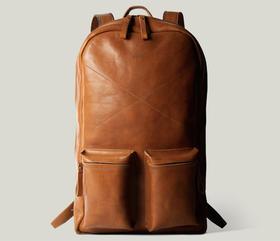 Hardgraft 复古简约双口袋双肩包|褐色(英国)