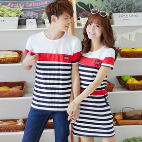 新款夏季情侣装夏装女裙子韩版短袖T恤男女学生班服F4036093825