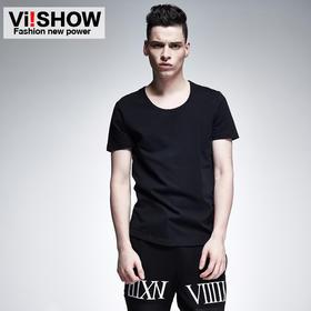 【viishow】圆领黑色修身潮短袖 男式暗潮摇滚T恤 TD34952
