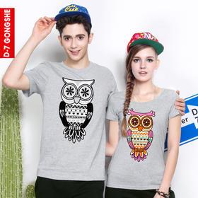 第七公社  qlz情侣装夏装2015款猫头鹰韩版纯棉卡通短袖T恤女上衣