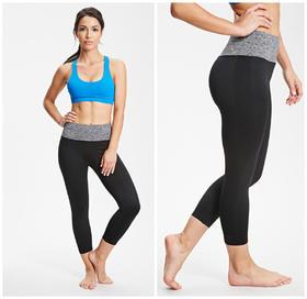 P8601 女款彩腰紧身七分裤 适用跑步健身运动