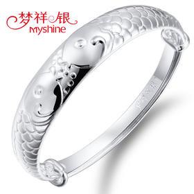 梦祥 银饰手镯 990足银相濡以沫的爱情时尚接吻鱼泡泡鱼银手镯