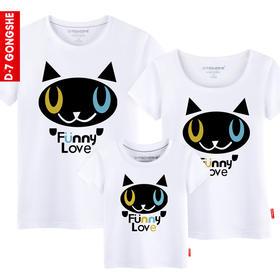第七公社  亲子装三口夏装2015款可爱猫头纯棉短袖T恤母女装全家装