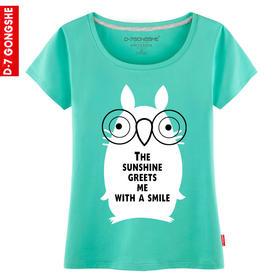 第七公社 卡通眼镜猫夏装2015新款女士短袖T恤韩版潮流印花T恤衫