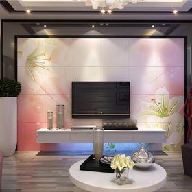 华艺品陶 现代中式 豪华客厅电视沙发瓷砖背景墙景墙瓷砖600*600 影视墙 梦幻百合 平面+幻彩/0.1平方米