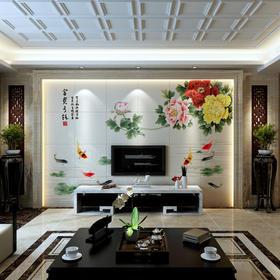 华艺品陶 中式古香客厅沙发背景墙瓷砖600*600 3D超美立体雕刻 富贵花开 平面+幻彩/0.1平方米