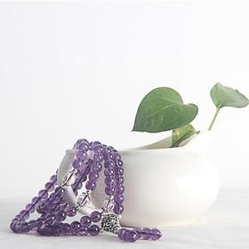 捷创正品风情万种6mm钛银紫水晶手链 情人节礼物