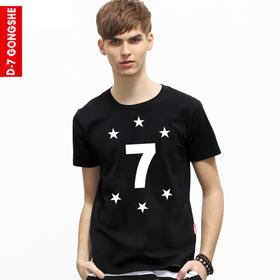 第七公社  原创个性文字7短袖t恤2015新款夏装青少年男纯棉短袖T恤