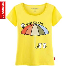 第七公社  卡通阳光伞女士夏季短袖T恤2015新款韩版收腰款体恤衫潮