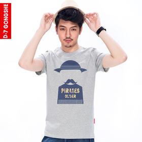 第七公社  原创个性水手印花男士短袖t恤2015新款夏装休闲短袖T恤