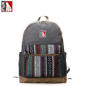 【爱心箱送】加拿大INUK潮时尚新款学院风名族双肩包学生背包休闲书包复古包