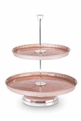 威尼斯手工玻璃 镀银双层水果盘