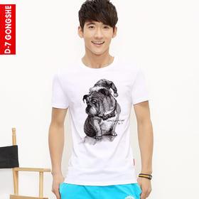 第七公社  创意个性狗狗图案短袖男2015款夏装青少年纯棉圆领t恤衫