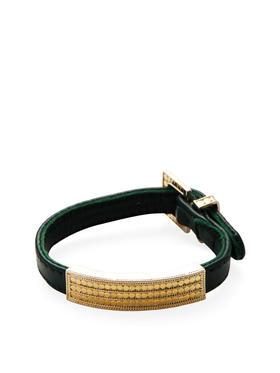 Anna Beck Jewelry 黄金绿色皮革手镯