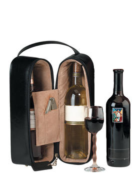 Royce Leather 豪华麂皮内衬双提酒盒