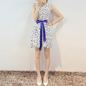 梦痕  2015夏季新款修身显瘦女装雪纺无袖印花连衣裙子 配腰带  B6285  menghen1688