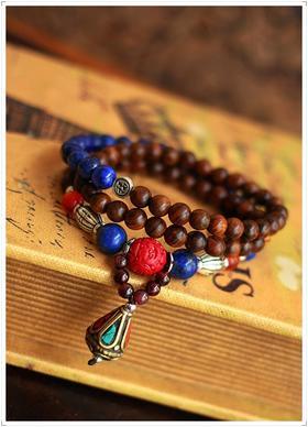 高品质原创尼泊尔珠青金石手链 金丝檀木本命年转运佛珠手串