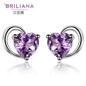 贝莲娜 S925银天然紫水晶托帕石心形耳钉