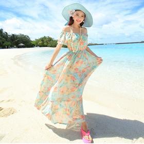 菲思诺 2015夏季新款 波西米亚长款连衣裙沙滩美裙 限时49.90元 花色多随机发货