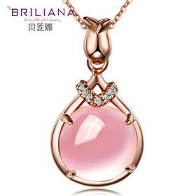 贝莲娜 S925银天然紫水晶芙蓉石吊坠【花遇】