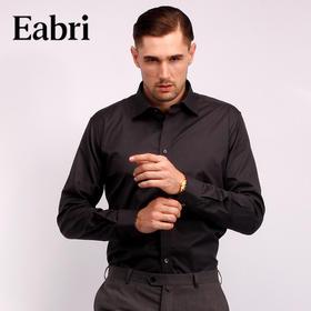 仕族Eabri英式衬衫男商务衬衣长袖纯色正装修身纯棉 尊轩象牙黑微纹英式