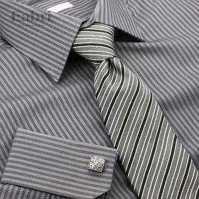 测试--仕族Eabri2015男商务正装长袖法式衬衫 纯棉修身衬衣条纹