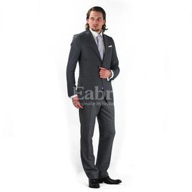 Eabri高唯系列中灰色平纹平驳领单排两粒扣西装