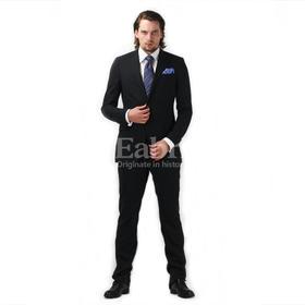 Eabri高唯系列全羊毛黑色平纹戗驳领单排一粒扣小礼服