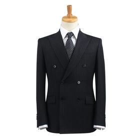 Eabri男士精选100%纯羊毛双排扣戗驳领条纹正装西服