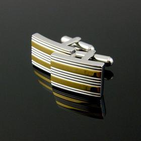 镀双色金长方基本款袖扣