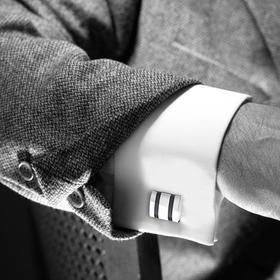 男士法式衬衫袖扣袖钉-流光银黑色点漆