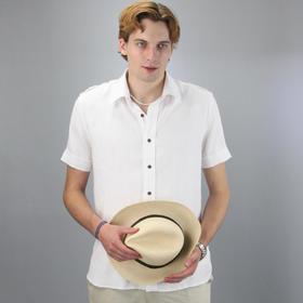 男士短袖衬衫100%亚麻休闲商务正装修身白衬衣