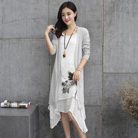 菲思诺2015早秋新款 森女系清新文艺范两件套棉麻连衣裙套装JIH-2070
