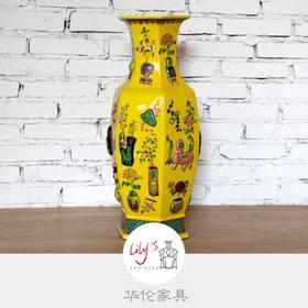 粉彩六角博古花瓶  HL-WBH-08008