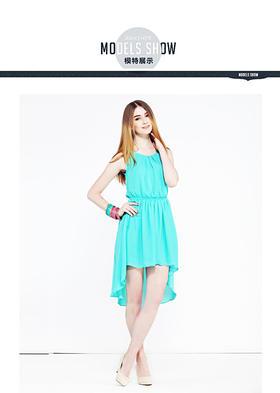 【搜于特】潮流前线2015夏季圆领无袖中腰雪纺连衣裙