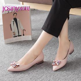 Josiny/卓诗尼2015秋季新款女鞋 欧美尖头水钻粗跟单鞋153152060