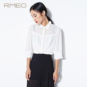 RMEO/浪漫一身2015秋装新款 欧美透视拼接个性花瓣领长袖修身衬衫