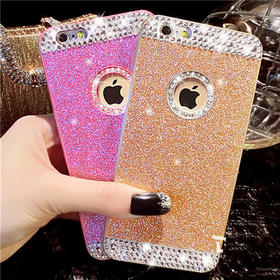 超薄iPhone6手机壳水钻苹果5S手机套镶钻亚克力4S贴钻闪粉保护套