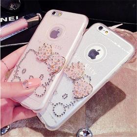 iPhone6plus手机壳闪粉kt猫手机套苹果6卡通镶水钻保护套tpu软壳