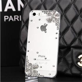 iphone6plus镶钻手机保护套苹果5五叶花手机壳4S贴钻透明壳水钻