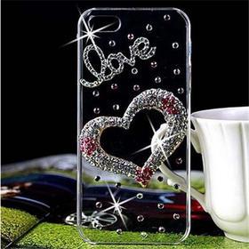 iphone6手机壳苹果5s手机套4S蝴蝶结镶钻透明壳贴水钻保护套外壳