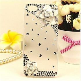 iPhone6plus手机壳镶钻苹果5S手机套5C水钻山茶花保护套4S配件