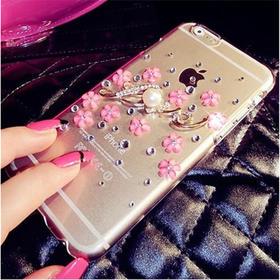 新款iPhone6手机壳苹果5透明love贴水钻手机套镶钻小花瓣4S保护套