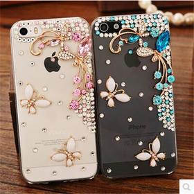 iPhone6手机壳苹果5S手机套镶钻荷塘月色保护套4S水钻手机配件