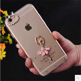 iPhone6手机壳苹果5S手机套镶钻摄像孔圈芭比保护套4S水钻配件