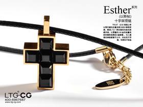 以斯帖十字架项链 镀18k金 18英寸圆蜡绳 男女通用