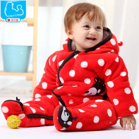 依尔婴童装 婴儿连体棉衣服冬季加厚男女宝宝哈衣0-1岁爬服新生儿包脚棉衣服 2015年新款LTY429