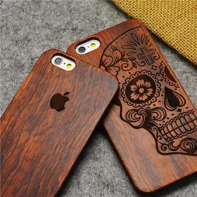 竹木工艺 iphone5S实木手机壳 苹果6木质雕刻保护壳 6plus原木贴PC新款外壳