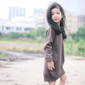NATUNA童装15秋冬女童廓形大口袋棉绒欧美风毛线裙可爱实用有范儿