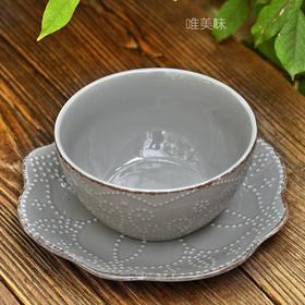 外贸高级炻器 灰色浮雕星月 多用餐盘碗套装